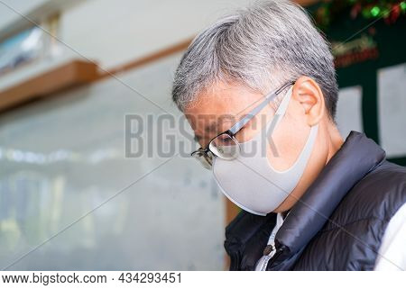 Asian Woman Teacher Wearing Medical Face Mask For Safety Herself Waiting Student Or Pupil Come Back