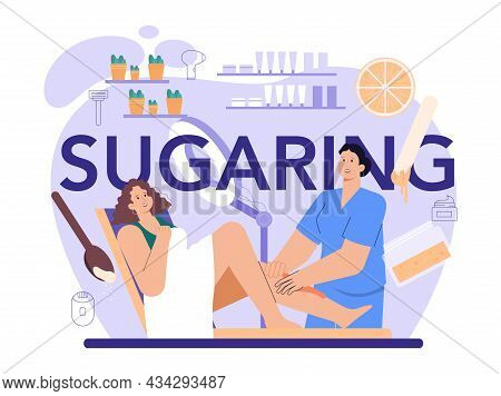 Sugaring Typographic Header. Depilation And Epilation, Hair Removal