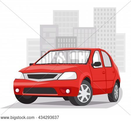A Red Passenger City Car On The Background Of An Urban Landscape. Vector Illustration In Flat Style
