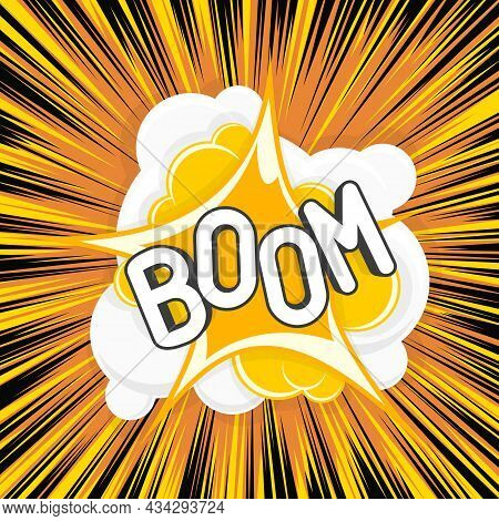 Boom Comic Explosions Template. Decorative Backgrounds With Flash From The Bomb Explosive. Funny Car