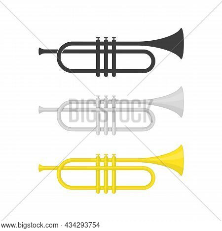 Brass Trumpet Icon Set. Philharmonic Orchestra Device Isolated On White Background. Wind Musical Ins