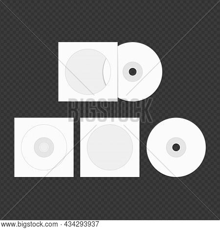 White Compact Disk With Cover Mock Up Template Isolated On Transparent Background. Blank Dvd And Cd