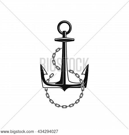 Nautical Anchor With Chain Links, Isolated White Background. Ship Anchor, Vintage Icon. Vector Illus