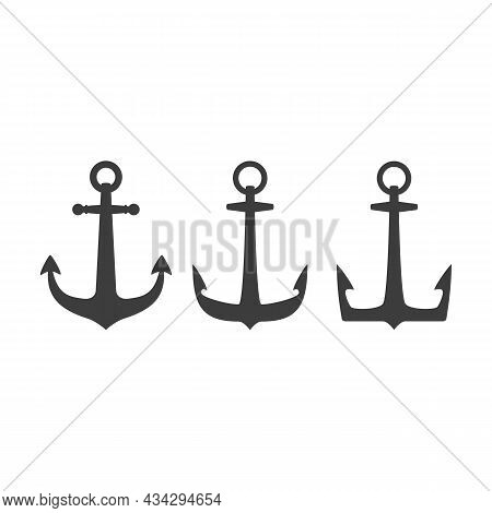 Nautical Anchor Set Isolated White Background. Vintage Sea Anchors Collection. Ship Anchor, Vintage