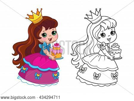 Coloring Book With A Princess In A Beautiful Pink Fluffy Dress Holding A Cake. Set With Girl And Bla