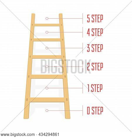 Wooden Ladder With Steps For Infographics. Wood Step Ladders Stand Near White Wall. Vector Illustrat