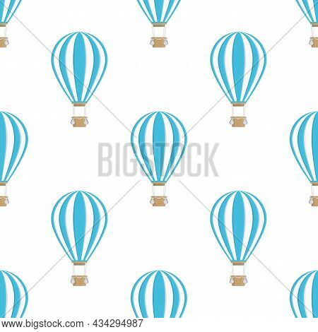 Air Balloon Seamless Background. Colorful Aerostat Balloon Texture. Travel, Vintage Transport Concep