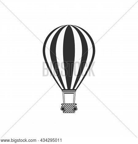 Monochrome Air Balloon Icon In Modern Flat Style. Travel, Vintage Transport Concept. Aerostat Isolat
