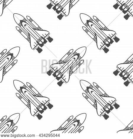 Seamless Background On The Theme Of Space. Space Rocket Simply Texture.travel, Space Exploration Con