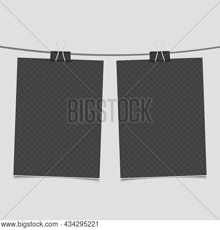 Collection Of Blank Photo Frames On Rope In Realistic Style. Set Of Vintage Photos Frame For Your Pi