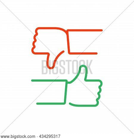 Thumb Up And Thumb Down Icons. Like And Dislike Icon. Social Media Like Button, Line Style On White