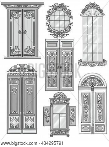 Different Doors And Windows Classical Designs Colorless Line Drawings. Vintage Wooden Door Glass Win