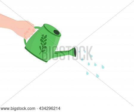 A Watering Can In His Hand Pours Water. Watering Plants. A Tool For Caring For A Growing Tree Or Flo
