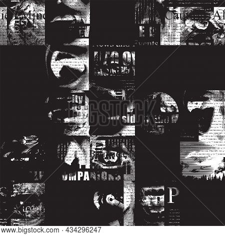 Abstract Seamless Pattern With Fragments Of Illegible Newspaper Text, Illustrations And Titles On A