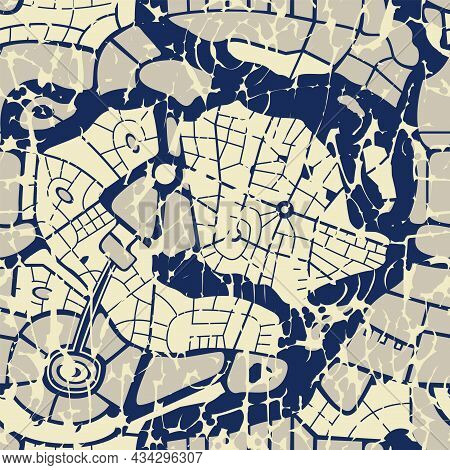Abstract Seamless Pattern Similar To A City Map. Repeating Flat Illustration With A City Plan In Gru