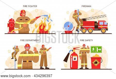 Firefighter Concept Set. Professional Fire Brigade Fighting With Flame.