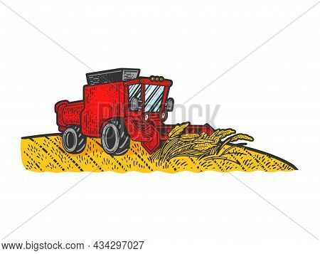 Combine Harvester In Wheat Field Color Sketch Engraving Vector Illustration. T-shirt Apparel Print D
