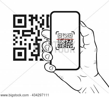 Qr Code Scanning With Mobile Smartphone. Hand-drawn Hand Holding Smartphone While Scanning Qr Code.