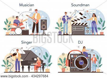 Musical Occupation Set. Musician, Sound Designer, Dj And Singer