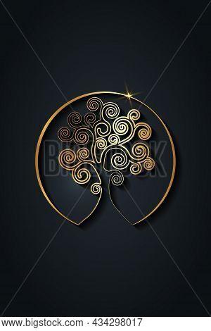 Tree Of Life Logo Design, Gold Spiritual Mandala, Sacred Geometry. Bright Golden Symbol Of Harmony A