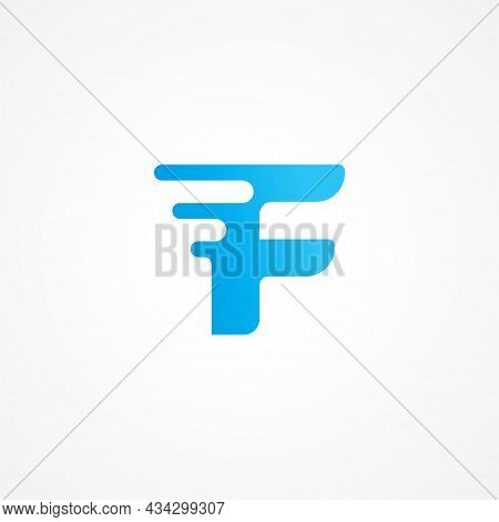 Vector Illustration Of Letter F Streaking With Fluid Effect. Initial Alphabet Logo Design Template F