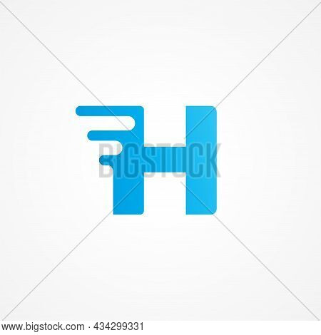 Letter H Shape Streaking With Fluid Effect. Initial Alphabet Logo Design Template For Kids Product,