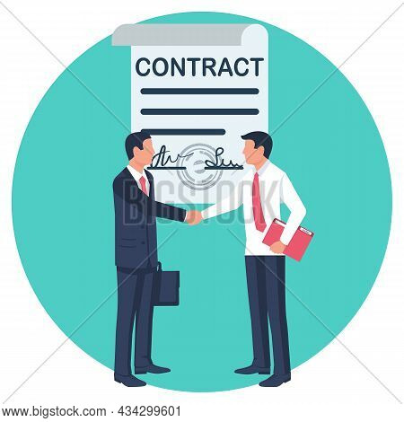 Two Businessmen Shake Hands After Signing The Contract. Agreement Of People To Work Together. Vector