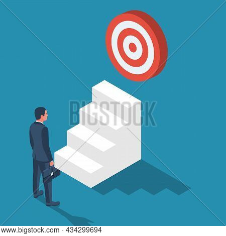 Purpose Business Concept. Purposeful Businessman With Spear In Hand Looks At The Target. Achievement