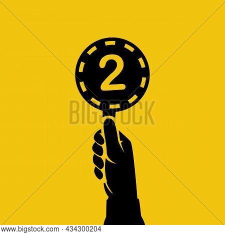 Score Card 2. Number Table. Digit Rating On A Scorecard. Human Hand Holding Score Card. Black Scorec