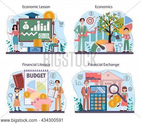 Economy School Subject Concept Set. Student Studying Global Economics