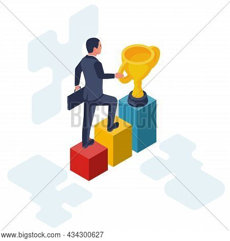 Success Achievement. Businessman Go To Victory. Desire To Win. Way To Victory. Vector Illustration F