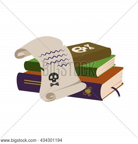 Gothic Spell Books With Skull And Paper Scroll Of Witch. Festive Decoration For Halloween And Holida
