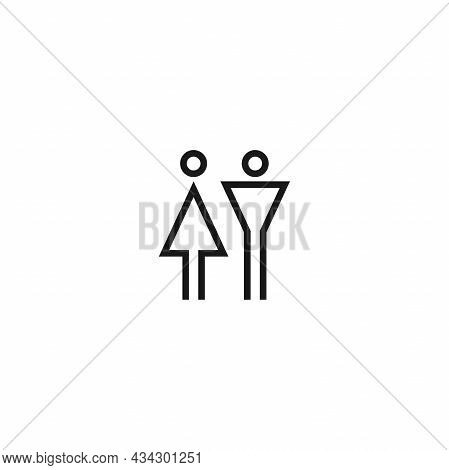 Silhouettes Of Man And Woman. Pair Or Couple. People Gender Or Sex Simple Icon. Male And Female Sign
