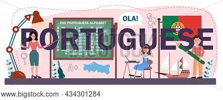 Portuguese Typographic Header. Language School Portuguese Course.
