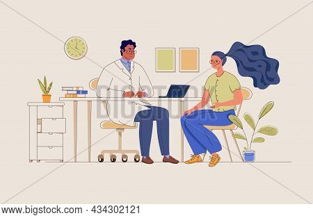Patient In Doctor's Office. Therapist Consultation. Visit. Modern Clinic. Diagnosis. Physician's Adv