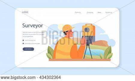 Surveyor Web Banner Or Landing Page. Land Surveying Technology
