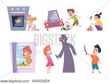 Kids Dangerous. Children Situation Playing Risk Games With Electricity Standing Near Window Finger P