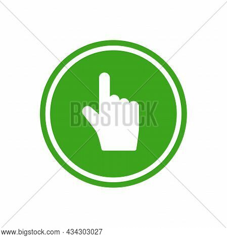 Hand Points Up In Green Ciecle. Swipe Up Or Scroll Icon. Pointing Hand With Arrow Up. Flat Picrtogra