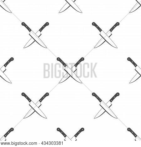 Two Crossed Knife Background. Kitchen Knives Simply Texture. Chef, Kitchen Symbol. Vintage Butcher T