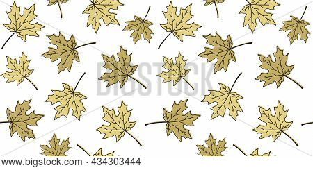 Golden Beige Outline Maple Leaves On A White Background. Endless Texture With Falling Autumn Leaves.