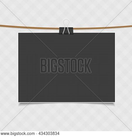 Vintage, Blank Photo Frame With Shadow Effects Hanging On Rope. Single, Old Photo Card For Your Pict