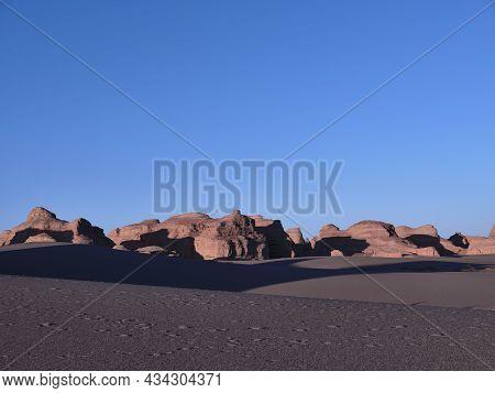 Landscape Of Yardang Landforms In National Geological Park Near Dunhuang, Gansu Province, China
