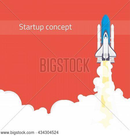 Rocket Launch Startup Minimalist Business Concept In Flat Style. Business Startup Launch Concept Wit