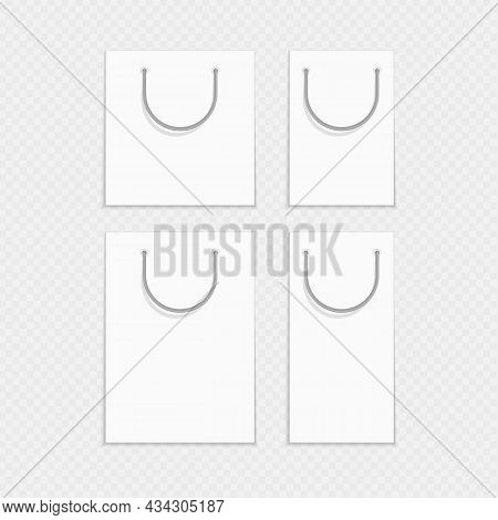 Empty White Shopping Bags Template For Advertising And Branding. Mockup Paper Package Different Size