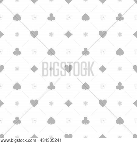 Gambling Chips And Playing Cards Seamless Background. Black Casino Chip With Four Aces Pattern. Poke