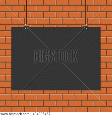 Transparent A4 Paper Mock Up In Realistic Style. Blank Sheet Of Paper On The Red Brick Wall Backgrou