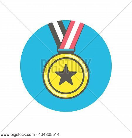 Gold Medal Icon. Medal Icon In Flat Style Isolated On White Background. Gold Medal Icon Vector Illus