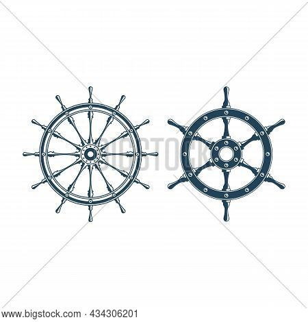 Simple Style Ship Wheel Icon Set. Boats Helm Isolated On White Background. Rudder Icon. Vector Illus