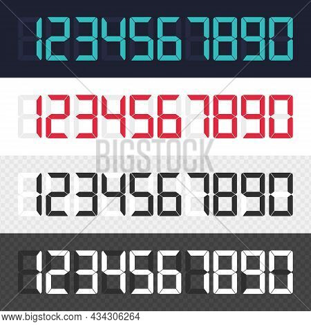 Calculator Digital Numbers Set. Modern Electronic Figures Isolated On Black Background. Bright Numbe