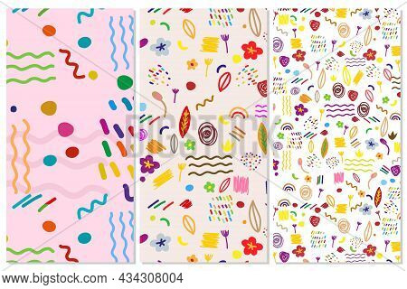 Decorative Abstract Seamless Pattern With Colorful Doodles. Hand-drawn Modern Primitive Style Collec